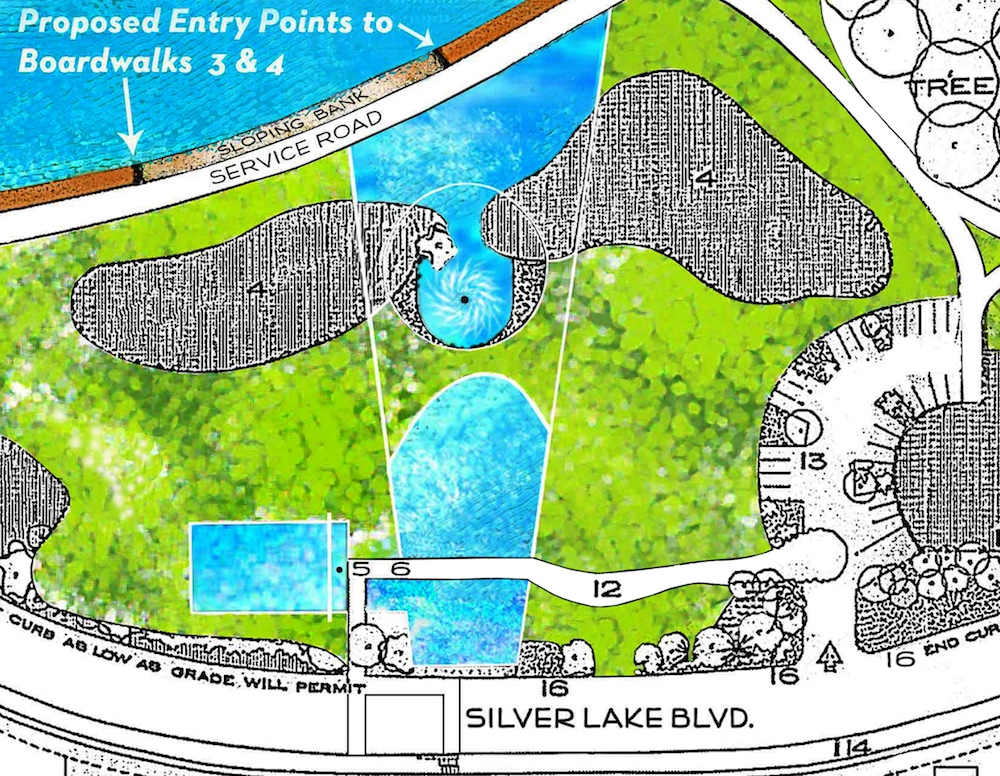 A close up of the memorial garden plan
