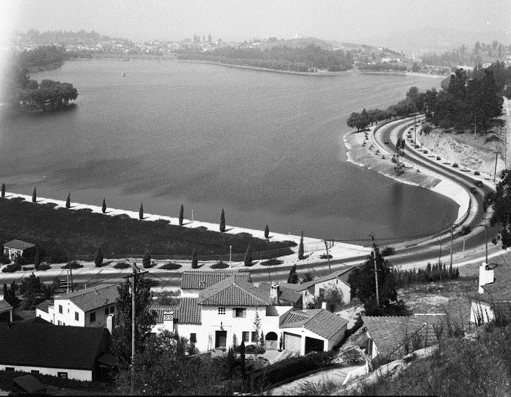 Early Days of Silver Lake showing banks and trees